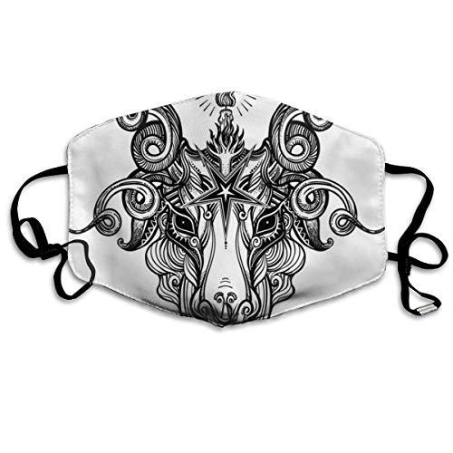 Bequeme Winddichte Maske, Pentagramm Zeichen Dämon Baphomet Satanic Goat Head Sketch mit Strudeln für Erwachsene