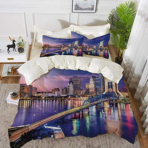 161 United States,Jacksonville Florida Skyline Vibrant Night St. Johns River Scenic,Royal B,Hypoallergenic Microfibre Duvet Cover Set 200 x 200cm with 2 Pillowcase 50 X 80cm