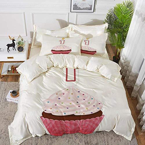 biancheria da letto - Set copripiumino, decorazioni per il 1 ° compleanno, ispirato al cupcake per pasticceria ispirato con candela, rosa caldo e bianco, copripiumino in microfibra ipoallergenico con