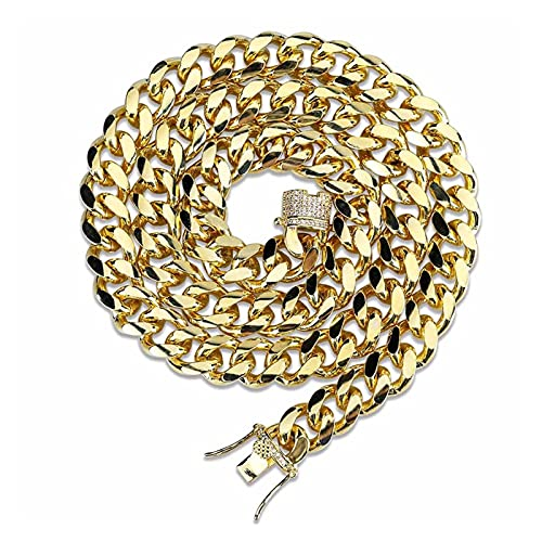 XIAOJIE Cadena Cuba de Miami Cadena Cadena Charms para Hombres Oro Plata Color Cubic Zircon Trendy Men's Hip Hop Jewelry Regalos (Length : 24 Inch, Metal Color : 10mm Gold)