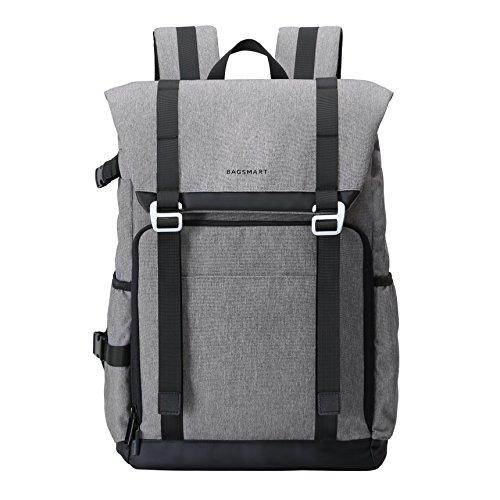 BAGSMART Camera Backpack for SLR/DSLR Cameras & 15' Laptop with Waterproof Rain Cover & Tripod Holder, Grey