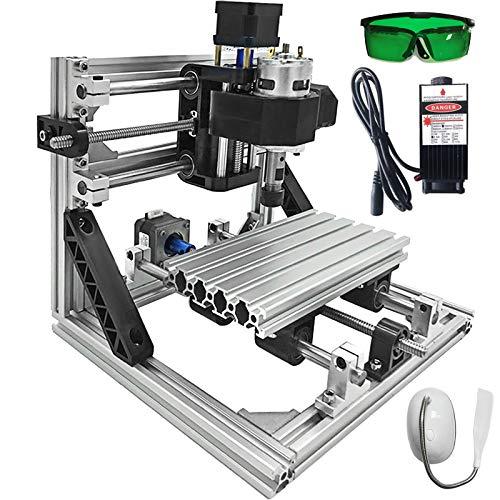 VEVOR CNC 1618 GRBL Control Kit de Enrutador, Máquina de Enrutador de 3 Ejes con Potencia Láser de 2500 mW, para Plástico Acrílico PCB PVC Tallado en Madera Fresadora (Área de Trabajo 160x180x45 mm)