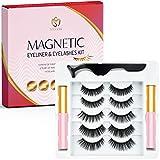 MEEYEE Magnetic Eyelashes, Magnetic Eyeliner and Magnetic Eyelash Kit, Reusable 3D False Eyelashes, Waterproof Magnetic Liquid Eyeliner, Natural Look- 5 Pairs