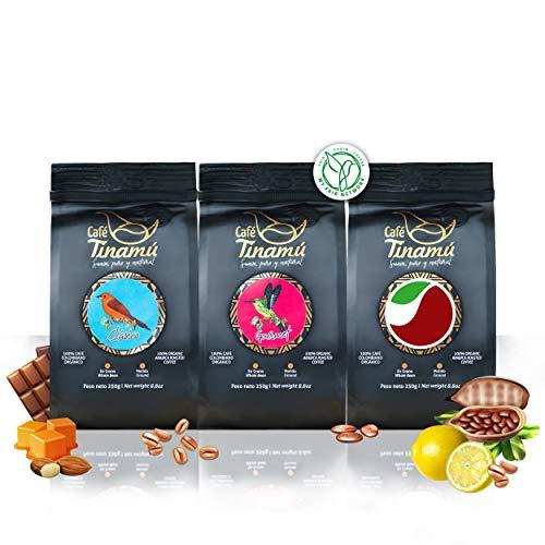 Café Tinamú Probierset   3x 250 Gramm   Bio Arabica Kaffeebohnen für Vollautomaten   Bekömmlich und vollmundig   Hochlandkaffee aus Kolumbien