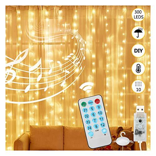 LED Lichtervorhang Lichterkette Vorhang 3mx3m 300 LEDs USB Lichterkettenvorhang Warmweiß Wasserdicht,12 Modi mit 4 Musikmodi Fernbedienung&Timer für Party,Schlafzimmer,Weihnachten Innen und Wesen Deko