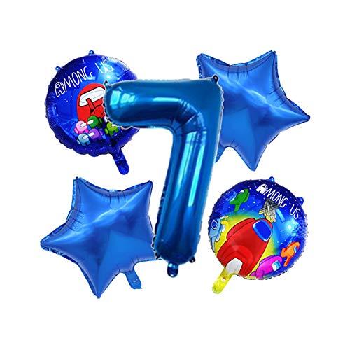 JSJJAYH Ballon 5 Teile/Satz Blaue Zahl Ballon Set Raum Cartoon Figure Folie Latex Ballon Happy Birthday Party Dekorationen décoration (Color : 7)