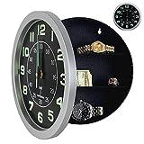 Reloj de pared de diseño con compartimento secreto [Caja fuerte, para dinero, llaves, joyas, caja fuerte secreta] - Reloj de pared con radiocontrol - Grandes dígitos - 24 cm - Gris y negro