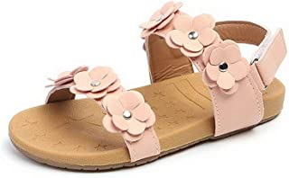 Beautoday Girl's Flower Open Toe Strap Sandals Flat White Sandal Water Sandals(Toddler/Little Kid)
