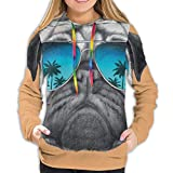 Women's Hoodies Sweatshirts,Dog with Reflecting Aviators Palm Trees Tropical Environment Cool Pet Animal XL