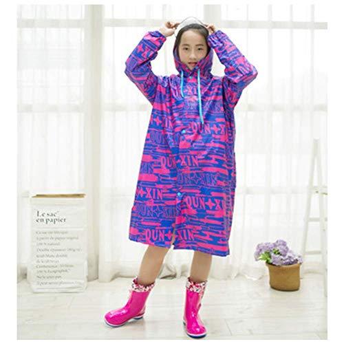 Guyuan Hommes Femmes Enfants Junior High School Students Adolescents Camouflage Oxford Cloth Long Imperméable Châle Zipper (Color : Red, Size : XXL)