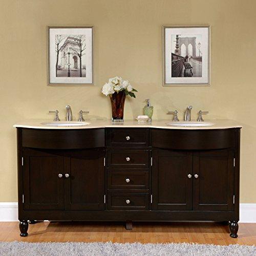 Silkroad Exclusive HYP-0717-CM-UWC-72 Cream Marfil Marble Stone Top Double Sink Bathroom Vanity with Cabinet, 72', Brown