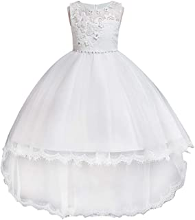 HUAANIUE Girls Pageant Party Dresses Hi-Low Lace Flower Girl Dress