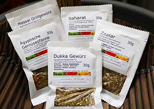Afrika Gewürze Schnupperset-1, Dukkah Gewürz, Masai Grillgewürz, Baharat, Zaatar, Ägyptische Gemüsepfanne