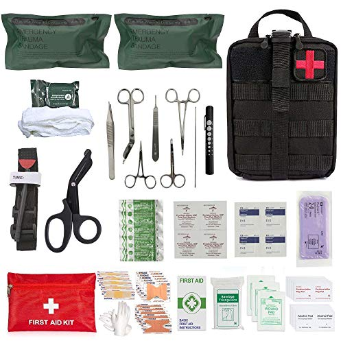 ASA TechMed - Gunshot Trauma/Hemorrhage Military Control Kit in MOLLE Advance IFAK Pouch Ideal for First Responders, Police, Firefighter and Survival Kits for Emergency