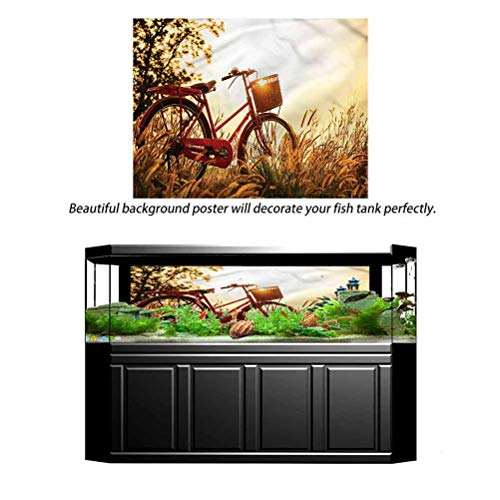 Hello-one Sweaters 3D Paper Poster Aquarium Background Bike in Sepia Tones Rural 48' L x 18' H Fish Tank Decorative Easy Paste