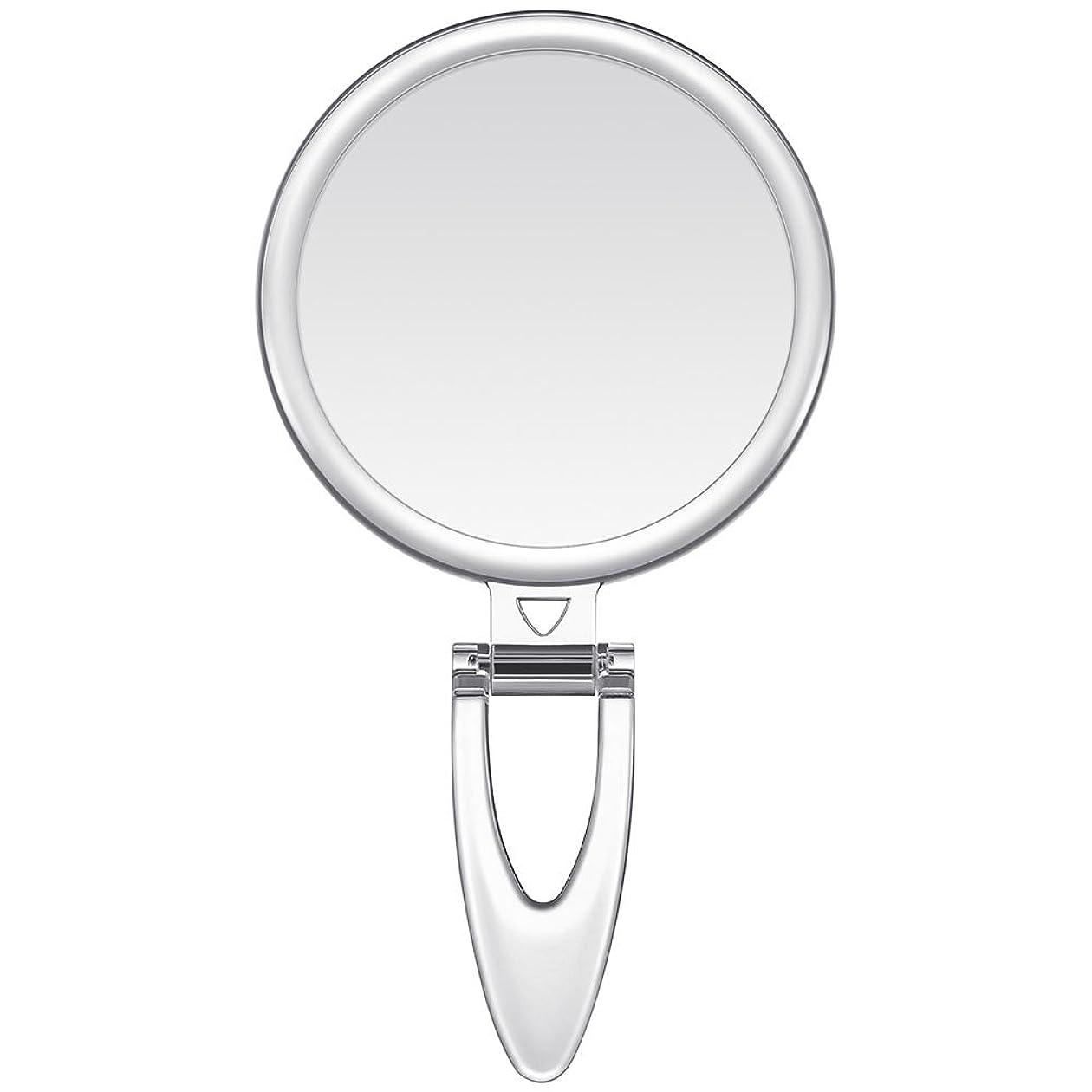 批判するなかなか追うLavany 手鏡 鏡 拡大鏡 両面コンパクトミラー 化粧鏡 10倍鏡付き 手持ち スタンド 壁掛け仕様 (S(3.2インチ))