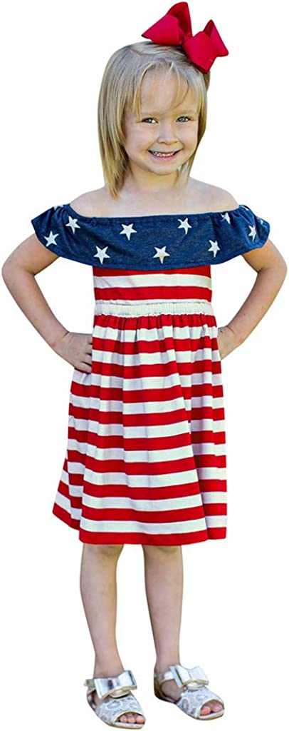 Xinlykid 4th of July Toddler Baby Girl Dress Summer Strap American Flag Striped Stars Print Sundress Outfit Clothes