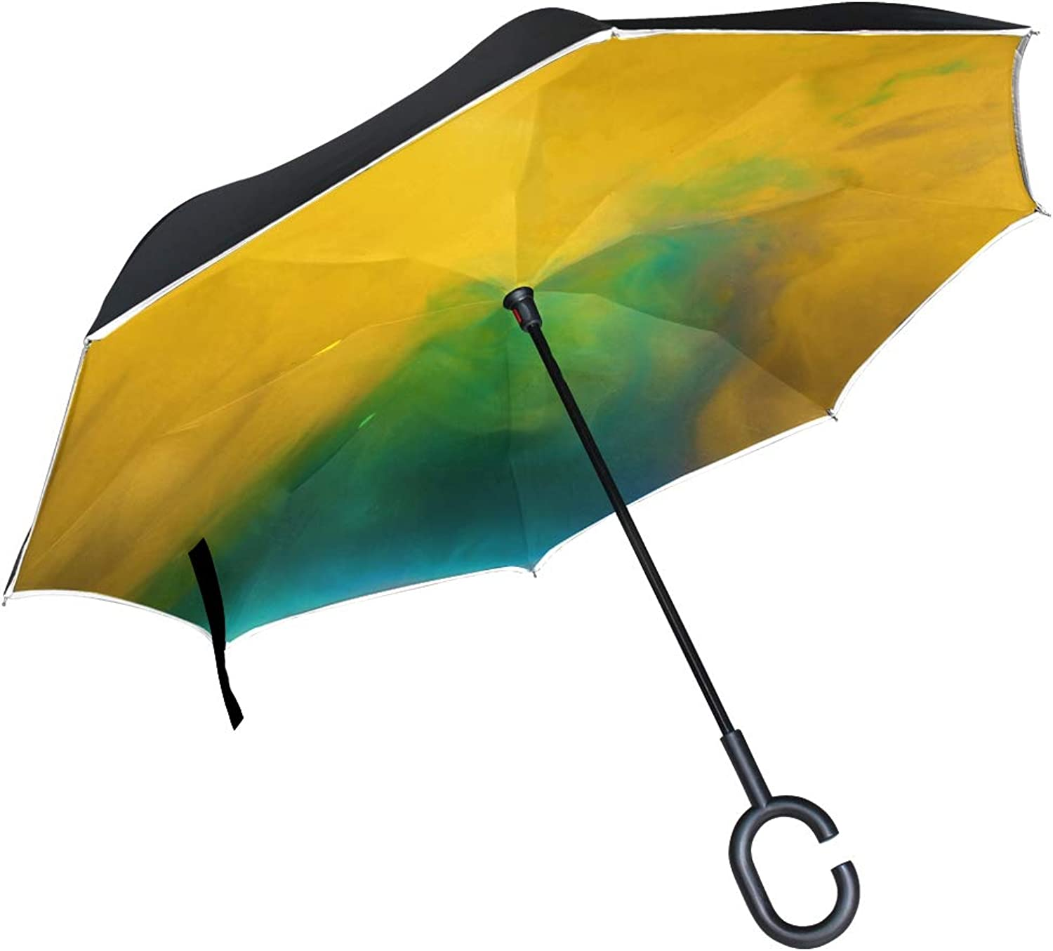 Double Layer Ingreened Abstract Art blueer Water color Desktop Acrylic Umbrellas Reverse Folding Umbrella Windproof Uv Predection Big Straight Umbrella for Car Rain Outdoor with CShaped Handle