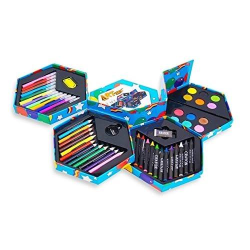52 pz, Caja de papelería para niños, con marcadores, crayones ...