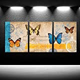 iKNOW FOTO Art for Home Walls 3 Panel Canvas Wall Art Multiple Butterfly Species Artwork Series Vintage Animals Painting Giclee Print Gallery Wrap Modern Home Bathroom Ready to Hang 12x16inchx3pcs