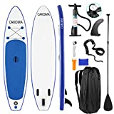 Caroma 10'6' Inflatable Stand Up Paddle Board, Premium SUP Accessories, Bottom Fin for Paddling, Leash, Hand Pump and Backpack, Non-Slip Deck, Youth & Adult Standing Boat (Navy Blue, 10'6')