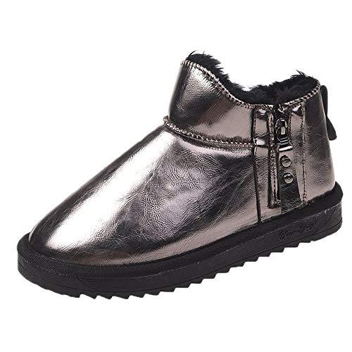 ICHUANGDIANZI Botas De Nieve De Tubo Corto para Mujer Nuevos Zapatos De Algodón Cálidos De Invierno Más Botas De Algodón De Fondo Grueso Plano Coreano De Terciopelo (Color : Gun Color, Size : 40)
