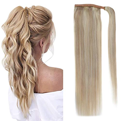 """Easyouth Wrap Around Ponytail Extensions (12"""" 70g) Brazilian Hair Extensions Color Ash Blonde Highlights with Bleach Blonde, Ponytail Clip in Hair Extensions Real Human Hair Easy to Style for Woman"""