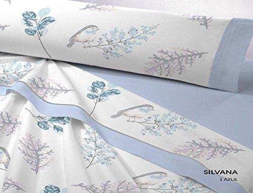 Dart Silvana Flanell Bettwäsche-Set, Baumwolle 200x200x1 cm blau