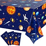 3 Pieces Outer Space Party Tablecloth Decorations, Plastic Solar System Planet Design Table Cover for Kids Solar System Outer Space Theme Birthday Party Decorations and Supplies, 54 x 108 Inch