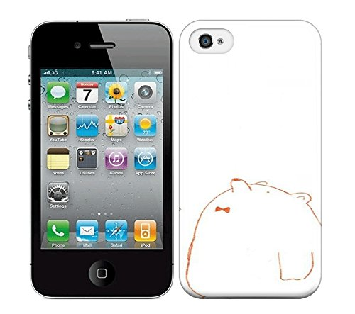 Passion Emotion White Background Simple Picture A Rabbit The Bear Looked Up At The Sky Hard Phone Case For Iphone 4/4S