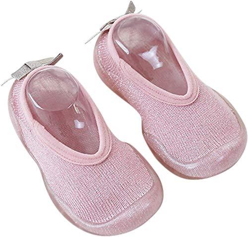 ANIMQUE Kinder Anti Rutsch Hausschuhe Niedriger Bund Baby Socken Schuhe Lauflernschuhe Krabbelschuhe Weich Bequem 26/27, Rosa