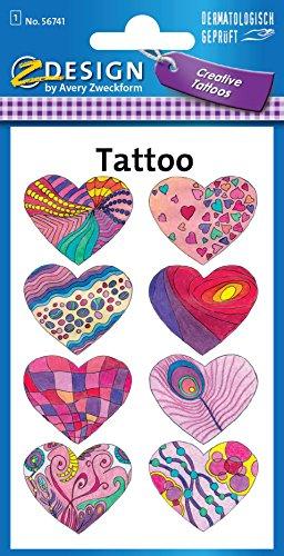 AVERY Zweckform 56741 Temporäre Tattoos Herzen (Kindertattoos, dermatologisch getestet, Kindergeburtstag, Kinder zum Spielen) 8 Motive für Mädchen