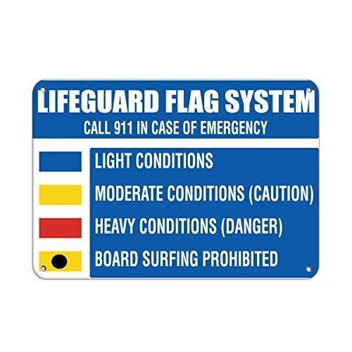 None Brand 911 Panneau en métal personnalisable pour l'extérieur Motif drapeau de la garde de sauvetage Interdit Board Surfing Call