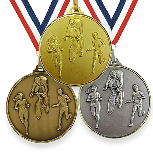 Trophy Monster High Definition 42mm or 52mm Duathlon Running Cycling Medal with FREE Ribbon Made from Brass   Gold, silver or bronze