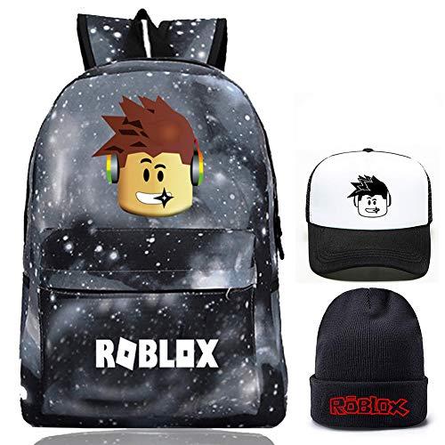 Roblox Rucksack mit Baseballmütze und Strickmütze, Student Bookbag Schultasche Laptop Rucksack Reise Computer Tasche für Kinder Jungen Mädchen Teenager Spiel Fans Geschenke (Sternengrau)