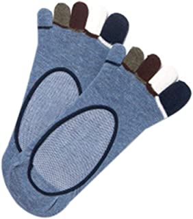 ZChun, ZChun - 1 par de Calcetines de Dedo de algodón de Corte bajo para Hombre, Coloridos de 5 Dedos, con Efecto de Mecha, para Botas sin Salida Azul Azul