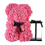 Rose Bear - Rose Teddy Bear on Every Rose Bear -Flower Bear Perfect for Anniversary's,Rose Bear , Mothers, Rose Teddy Bear. - Clear Gift Box Included! 10 Inches Tall - Over 200+ Flowers (Pink)