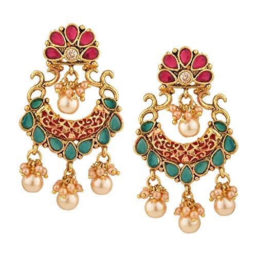 Efulgenz Indisches Bollywood-Schmuckset mit 14 Karat vergoldeten Ohrringen und Kristallperlen