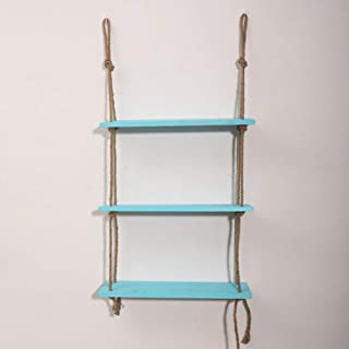 Wood Floating Shelves Decorative Hanging Shelf Home Wall Decor Rope Shelf with Jute Rope for Living Room Bathroom Kitchen,...