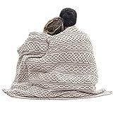Carraig Donn Irish Cable Knit Blanket Celtic Aran Throw - 100% Merino Wool Made in Ireland - 40'x 55' (102 x 140) (White/Wicker)