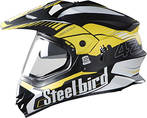 Steelbird SB-42 Airborne Matt Black with Yellow with Plain Visor with P.Cap,600...