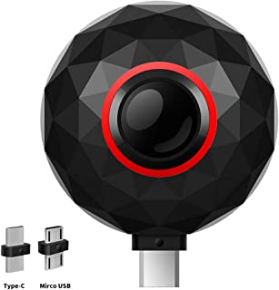 360度パノラマカメラ、3k/2k解像度、VRカメラ、Facebook共有、Androidデバイス(Type-CまたはMicro USB) (黑)