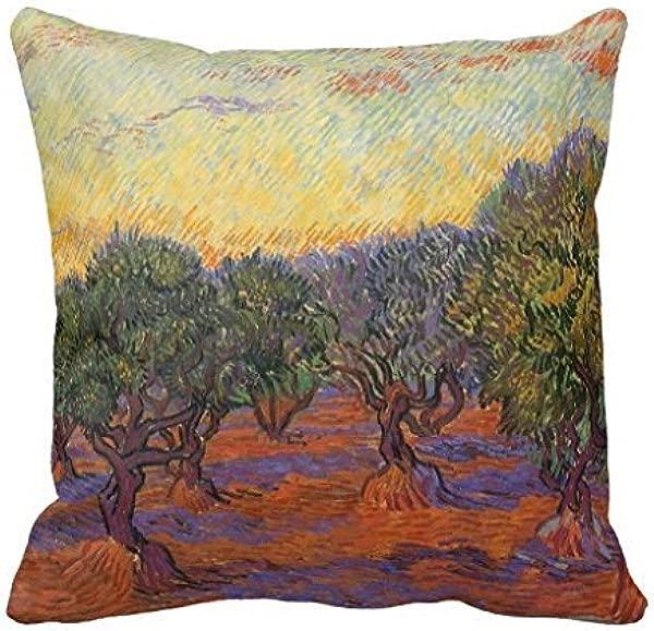 Olive Grove Orange Sky By Vincent Van Gogh Throw Pillow Case