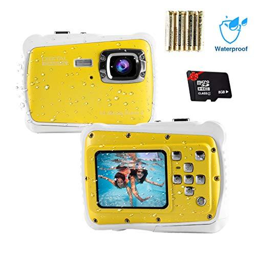 Epeolatry Kamera für Kinder wasserdichte Kinderkamera 12MP HD Fotos Unterwasser Camcorder mit 8X Digital Zoom Flash Mic und 8G Speicherkarte & 3 Nicht wiederaufladbare Batterien