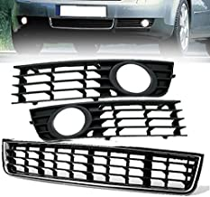 Set Of Front Bumper Center Lower Grille + Fog Light Grill For 2002 2003 2004 2005 Audi A4 B6 Sedan