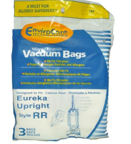 Eureka estilo RR–bolsas para aspiradora vertical, marca de repuesto EnviroCare, diseñado para aspiradoras Eureka vertical con estilo RR–bolsas, 99,7microfiltración, 3bolsas en unidades