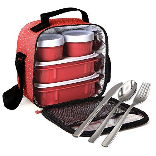 Kit Urban Food con Cubiertos en Acero Inoxidable 18/0 Niquel Free - Bolsa Térmica Porta Alimentos con 4 Tapers Herméticos. Dots Rojo