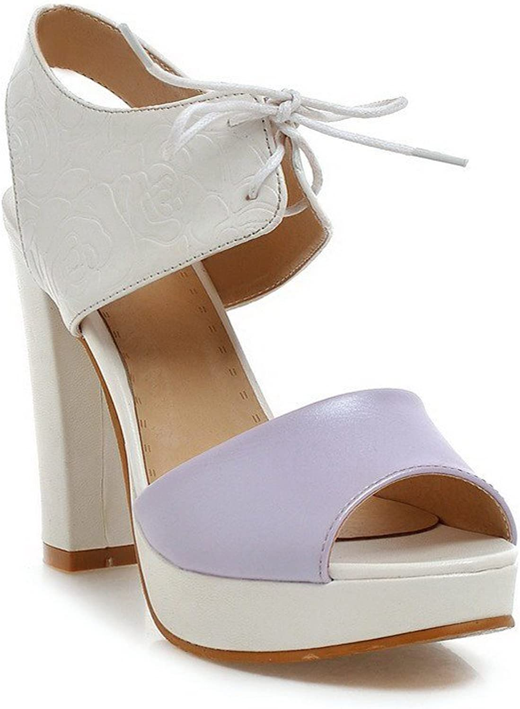 AllhqFashion Women's Blend Materials Lace Up Open Toe High Heels Solid Sandals