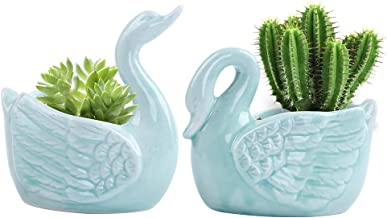 LUCKEGO 2.0 Inch Swan Pot Ceramic Flowing Glaze Base Serial Set Succulent Plant Pot with A Hole (2 in Set)