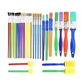 30 pennelli in spugna per bambini, strumento di disegno colorato, per pittura ad acquerello, doodle Multicolore